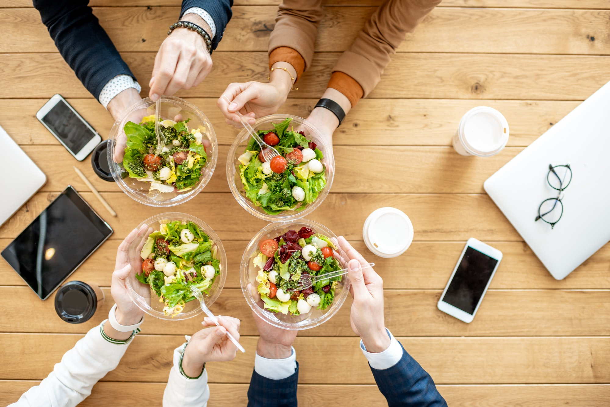 Business lunch, top view